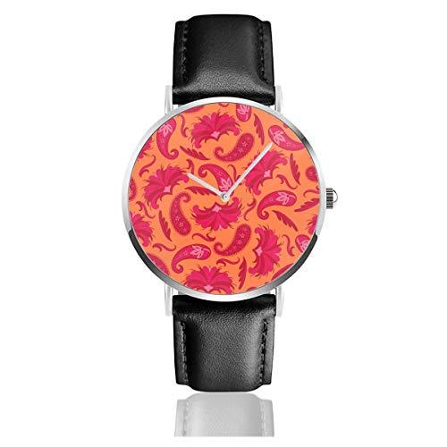 Art-déco-Paisley-Armbanduhr mit großem Lederband, leger, klassischer Edelstahl, Quarzuhrwerk, Business-Uhr