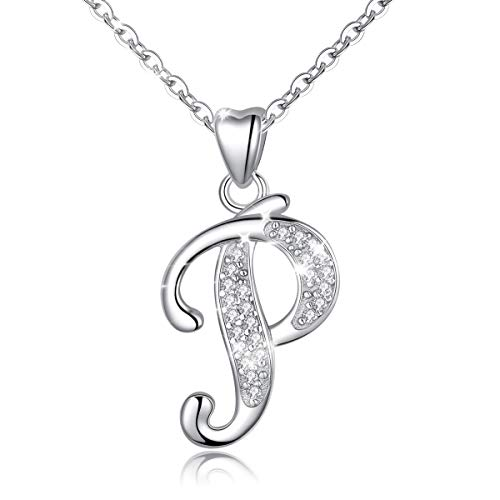 Initial Necklace Sterling Silver Letter Necklace Letter P Alphabet Personalized Pendant Jewellery with Cubic Zirconia Gifts for Women Girls AEONSLOVE