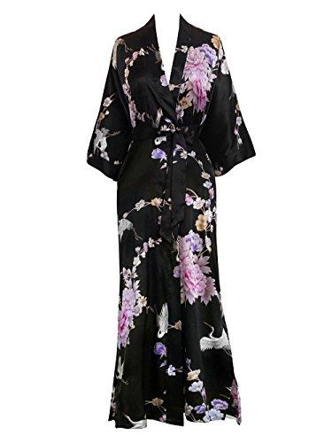 Women's Satin Kimono Robe Long - Floral - Chrysanthemum & Crane - Black