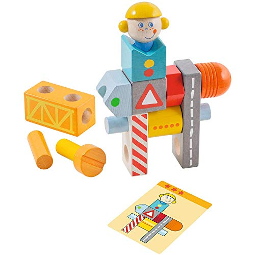 HABA Brain Builder Ben Stacking & Arranging Game with 14 Wooden Blocks & 20 Template Cards Ages 2-6