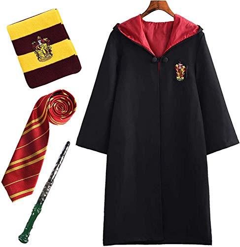 Kinder Erwachsene Harry Potter Kostüm Umhang Gryffindor Fanartikel Outfit Set Zauberstab Krawatte Schal Brille Karneval Verkleidung Halloween Faschingskostüm Schwarz 115-185 Groß Größ.