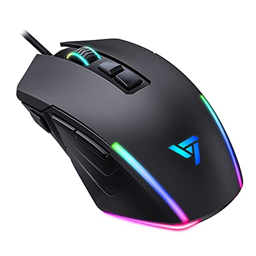 Wired Gaming Mouse PC311, 8000 DPI Optical USB PC Gaming Mice Metal Base with 7 RGB Backlight, 7 Programmable Buttons and Fire Button, Ergonomic Gamer Mouse with Side Button for Mac, Laptop, Computer