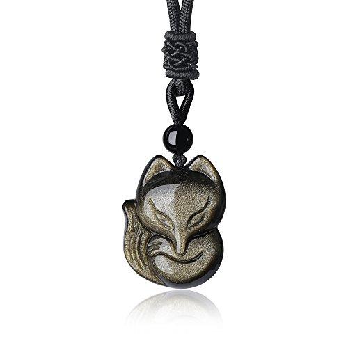 COAI Mens Womens Obsidian Stone Fox Pendant Necklace