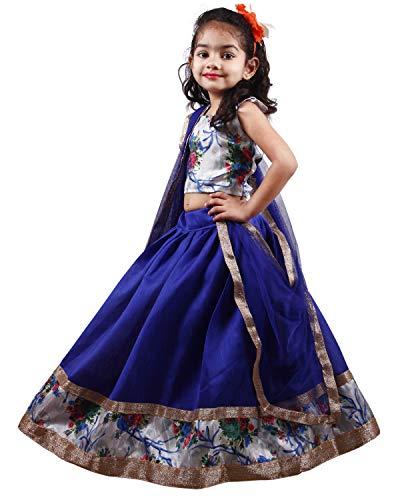 APPARELS FASHION Girl's Silk Readymade Lehenga Choli (Blue_2-3 Years)