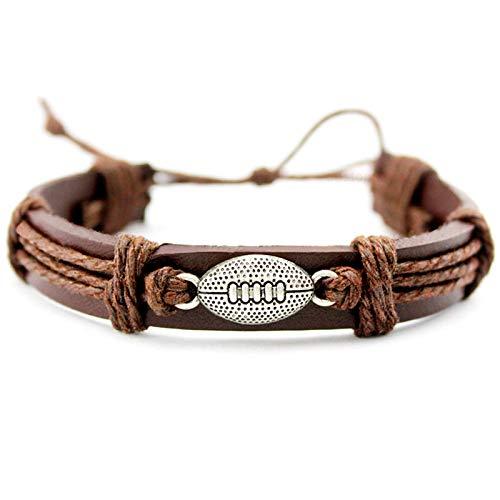 Generic Damen Lederarmband,Vintage Leder Geflochten Armreifen Sport Rugby Einstellbare Charme Bracelets Persönlichkeit Männer Jungen Frauen