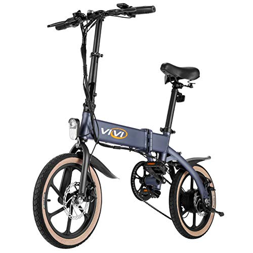 """Electric Bike Vivi 16"""" Folding Electric Bikes 350W Brushless Motor, Mountain Bikes/Adults Ebike 36V/10.4Ah Removable Lithium-Ion Battery, 20MPH, Shimano Professional 21 Speed Gears"""