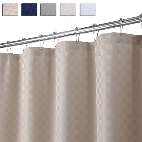 LinTimes Duschvorhang Taupe, Hotel Luxury 190 GSM Thick Polyester Duschvorhang Shower Curtain, Taupe, 180x200 cm (Verpackung MEHRWEG)