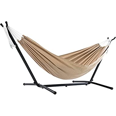 Vivere Double Sunbrella Hammock with Space-Saving Steel Stand, Sand