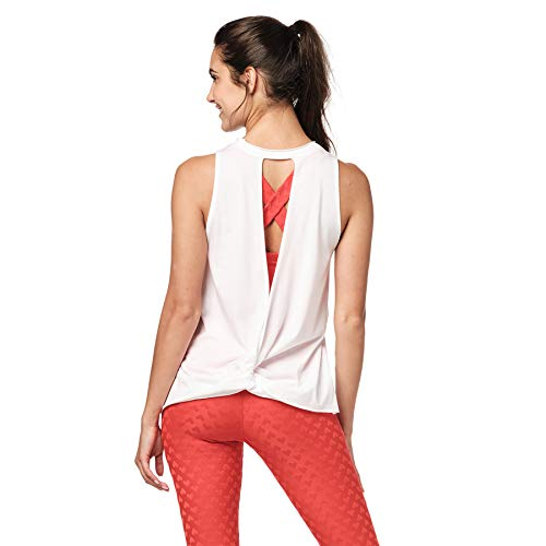 Zumba Activewear Backless Top Deportivo Dance Fitness Camisetas de Entrenamiento Blusas, Love White, Large para Mujer