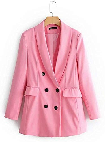 QDGERWGY Ceally Spring and Autumn New Leisure Long-Sleeved Double-Breasted Suit Jacket Mid-Long Suit foLadies