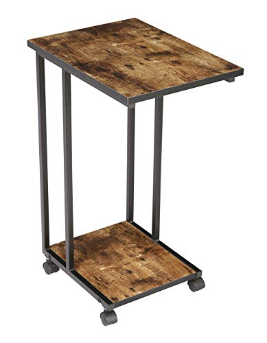 JJS Side End C Table for Sofa, Living Room Couch Table Snack Table That Slide Under for Small Spaces, Rustic Brown