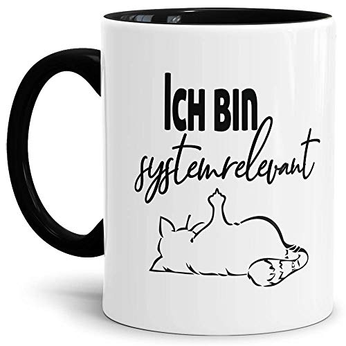 Tasse mit Spruch - Systemrelevant - Katze - Kaffee-Tasse/Arbeit/Job/Lustig/Erinnerung Krise Virus 2020 - Innen & Henkel Schwarz