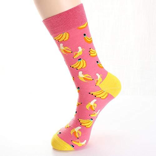 2 Paar Frauen Socken lustige süße Cartoon Obst Banane Avocado Zitrone Ei Keks Donut Essen glücklich Skateboard Socken-A003-9-One Size