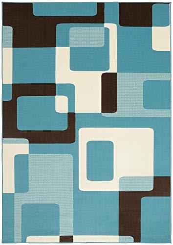 Bavaria Home Style Collection Designer Teppich Wohnzimmer Teppiche Retro Look Stil Design 70 er Jahre Optik blau grün braun schwarz 160 x 230 cm (blau)