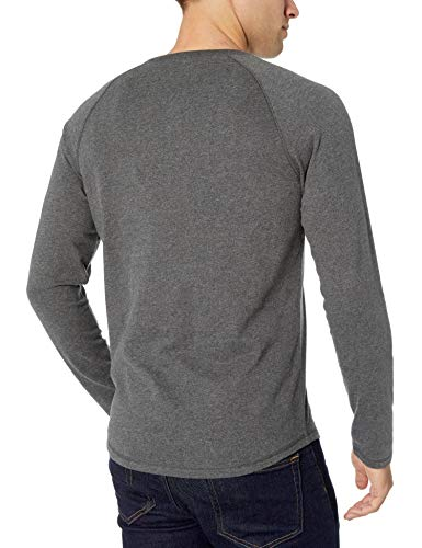 Essentiels Amazon T-Shirt Slim Col Tunisien Manches Longues Homme, Gris (Charcoal Heather), X-Small