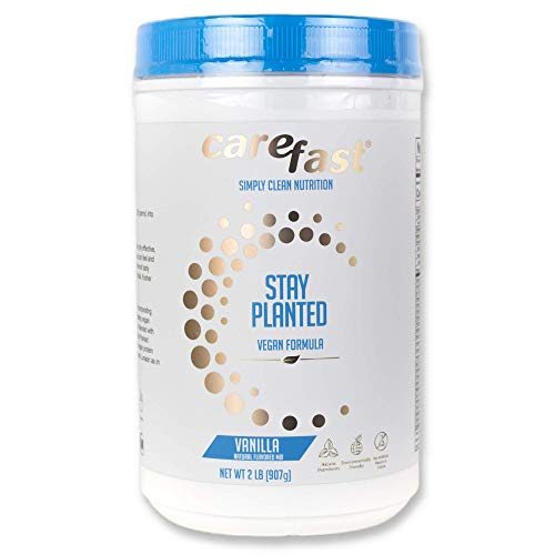 Carefast Stay Planted Plant-Based Non-GMO Soy Healthy Protein Powder Drink Mix - Vanilla Flavored - 2lb Tub - 13g Protein - Makes Great Tasting Low Carb Vegan Shakes & Smoothies