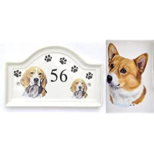 (BB24) House Door Number Plaque plate Ceramic CORGI Dog Breed Number Sign Any Number Available Hand Decorated in the U.K. Free UK Delivery Any breed- any house number- Dog House Door Plaque Porcelain Outdoor Plaques PAWPRINTS,