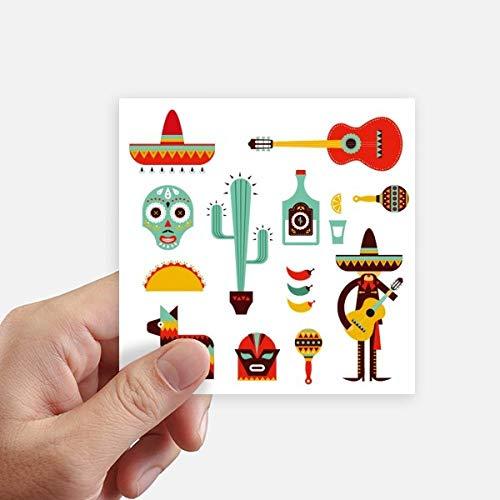 DIYthinker Sombrero del Tequila Guitarra Chile México Elment Square Stickers 10cm Pared Maleta portátil Motobike Decal 8pcs 10cm x 10cm