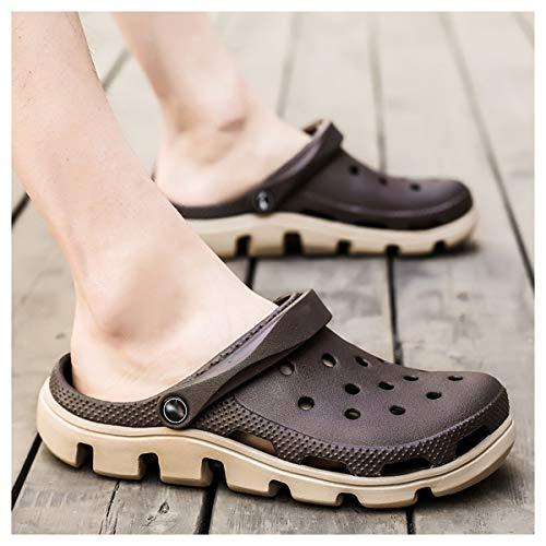 OFFA Pantuflas para hombre y mujer, zapatos clásicos de jardín, unisex, zapatos de agua, zapatos de verano, para interiores y exteriores, antideslizantes, para la playa (color: caqui, talla: 42 euros)