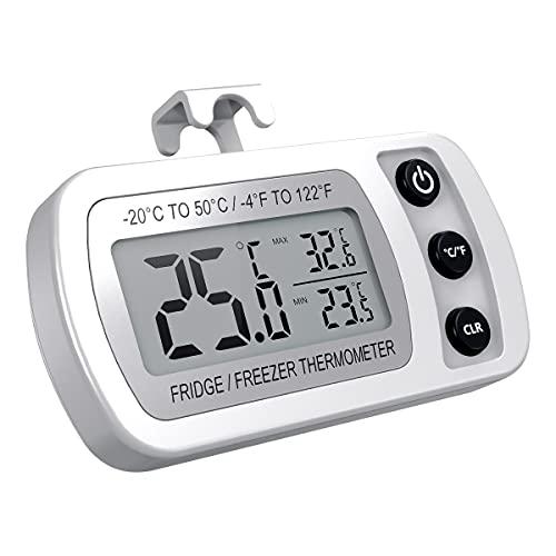 ORIA Kühlschrank Thermometer, Digitale Gefrierschrank Thermometer Wasserdichte Refrigerator Thermometer mit Max/Min Funktion, Haken, Gut Lesbarem LCD-Anzeige, Perfekt für Hause, Bars, Cafés - Weiß