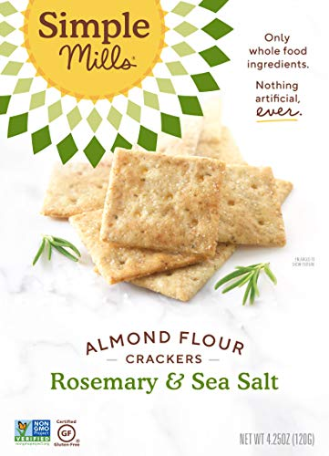 Simple Mills Almond Flour Crackers, Rosemary & Sea Salt, Gluten Free, Flax Seed, Sunflower Seeds, Corn Free, Good for Snacks, Made with whole foods, (Packaging May Vary), 4.25 Ounce (Pack of 1)