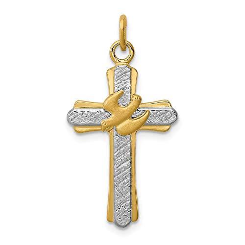 Hermosa plata de ley rodiada y chapado en oro de 18 quilates (satén) Cruz encanto