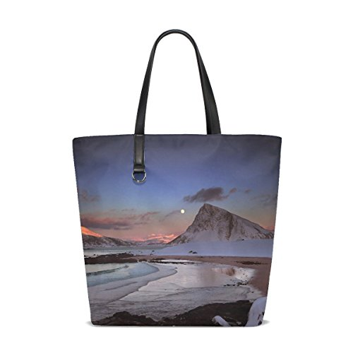 Mountains Evening Moon Snow Stones Ocean Tote Bag Purse Handbag For Women Girls