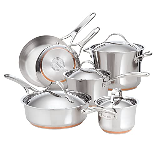 Anolon Nouvelle Copper Stainless Steel 10-Piece Cookware Set, Silver (75818)