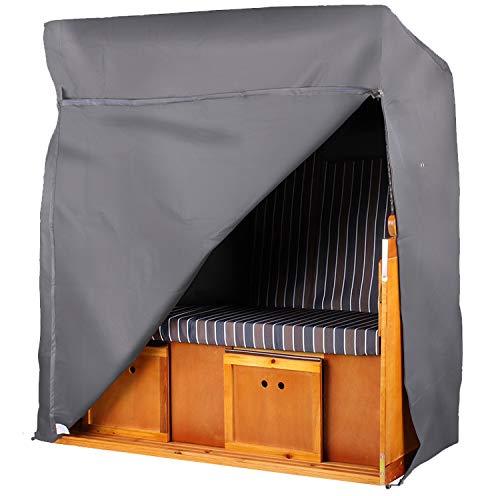 Mr.Deko Strandkorb Schutzhülle Aero Protect - 160x160x85cm / Größe XXL - Strandkorbhülle aus Ripstop Gewebe - Winterfest & UV-beständig - Premium Abdeckung aus Segeltuch für 3-Sitzer - dunkelgrau