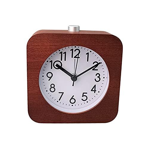 Analoger Wecker aus Holz Batteriebetriebene nicht tickende Uhr mit Schlummertaste Nachtlicht Sanftes Aufwachen