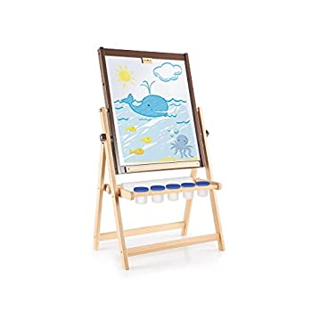 Guidecraft 4-in-1 Flipping Floor Easel - Magnetic Whiteboard Chalkboard Paint Cups and Paper Roller  Toddlers Classroom School Supply Art Furniture for Kids