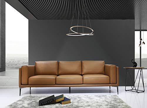 HABITMOBEL Sofá de diseño 3 plazas, Piel Regenerada marrón