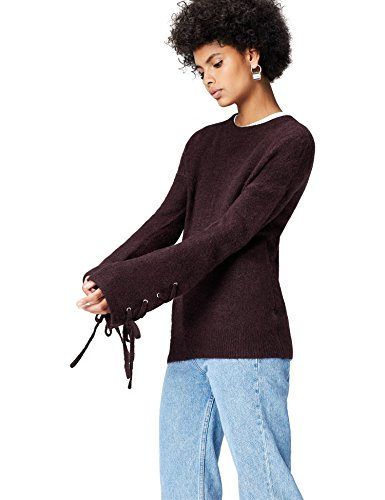 Marchio Amazon - find. Pullover Donna, Rosso (Burgundy), 40, Label: XS