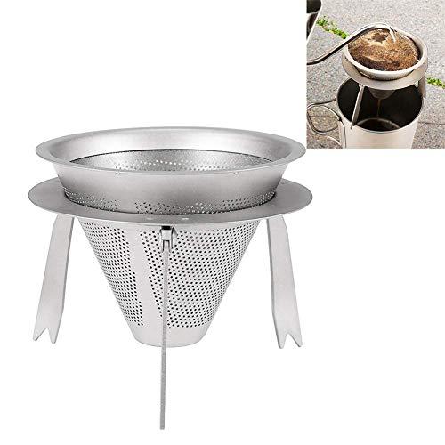 WYJW herbruikbare titanium voor over-cone Dripper – koffiefilter voor reizen met afneembare kopjeshouder, fijn maas, zonder papier, gemakkelijk te reinigen – voor buiten, camping