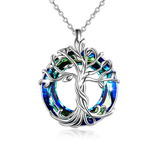 TOUPOP Tree of Life Necklace 925 Sterling Silver Celtic Family Tree Necklaces with Blue Circle Crystal Jewelry Gifts for Women Girls Friends Mom Birthday Graduation