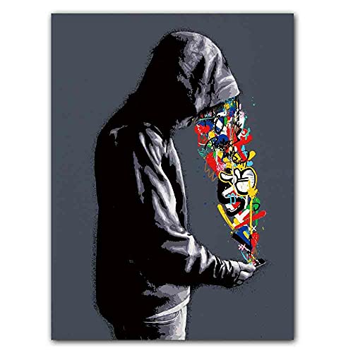qingqingzijin Moderno Color de la Calle Graffiti Pintura de Pared Banksy Cartel de Moda Lienzo Pintura Sala de Estar Pasillo decoración MuralA242 50 × 70 CM sin Marco