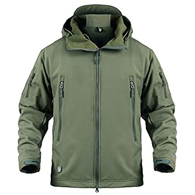 ReFire Gear Mens Army Special Ops Military Tactical Jacket Softshell Fleece Hooded Outdoor Coat,X-Large,Army Green