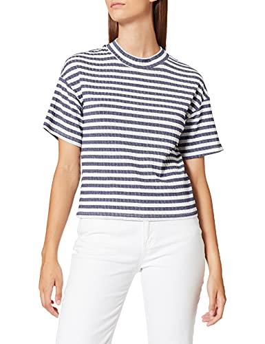 FIND Camiseta de Rayas de Canalé Mujer, Azul (Blue), 42 (Talla del Fabricante: X-Large)