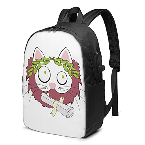 Silly Cat - Mochila de viaje con puerto de carga USB para hombres y mujeres de 17 pulgadas, ver imagen, Talla única,