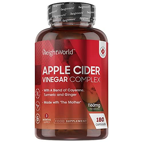 Vinaigre de Cidre de Pomme 1160 mg - 180 Gélules Vegan WeightWorld (3 mois) Complexe avec la Mère ACV, Piment de Cayenne, Curcuma et Gingembre - Apple Cider Vinegar Complex Capsules