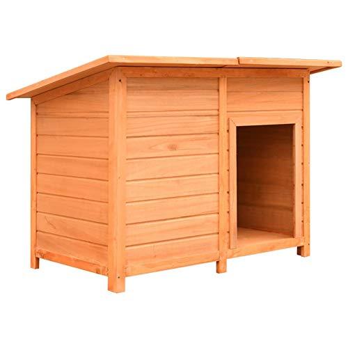 Caseta de perro con techo de tela, caseta de perro de madera