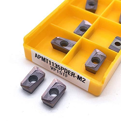 Insertos de Carburo, 10 unids APMT1135 PDER M2 VP15TF / APMT1135 PDER H2 VP15TF Herramienta de torneado Inserciones de carburo Herramienta de corte Torno de metal CNC Cortador de fresado