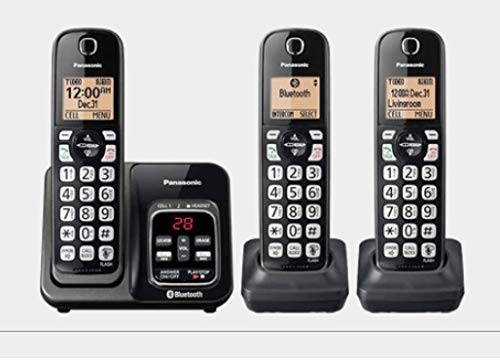 Panasonic KX-TG273SK Link2Cell Bluetooth Cordless Phone with Voice Assist and Answering Machine - 3 Handsets (Renewed)