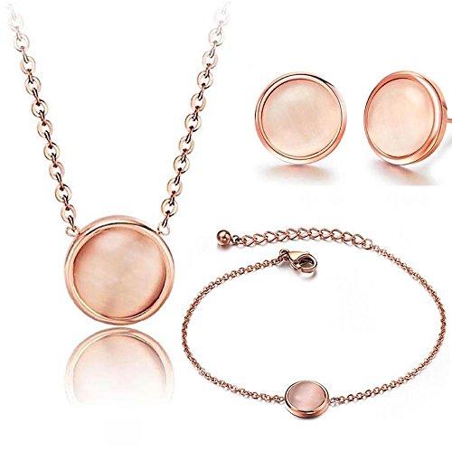 Kim Johanson La Perla Parure de bijoux pour femme en acier inoxydable avec pendentif, boucles d'oreilles et bracelet de cheville avec véritable opale sertie de pierres en or rose avec