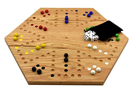 Solid Oak Double Sided Aggravation Marble Board Game Hand Painted 16 inch by Cauff