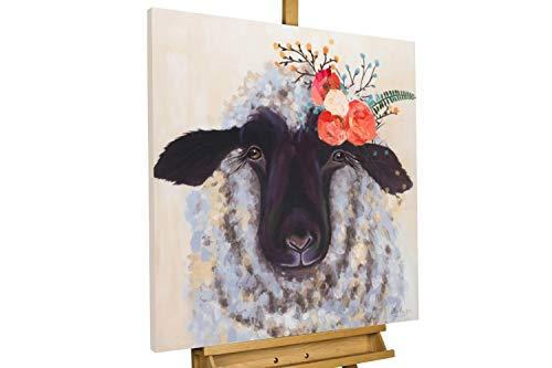 KunstLoft® Acryl Gemälde 'Content Ewe' 80x80cm handgemalt Leinwand Bild