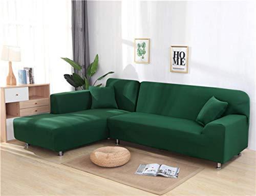 XCVBSofa Cover Sofa Stretch Couch Cover Kussenovertrekken voor Woonkamer Effen Kleur Elastische Sofa Cover voor L-vormige Hoekbank Chaise Longue, Donkergroen