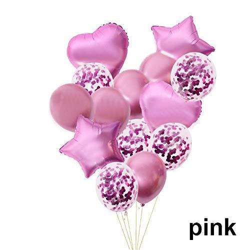Lemon-Land 14 stks Kinderen Volwassen Verjaardag Party Decor Bruiloft Folie Metallic Ballonnen Set Confetti Ballon Star Heart(Pink)