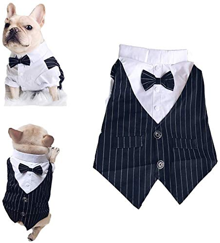 Pet Clothes Dog Shirt Dog Tuxedo Bow Tie Shirt Suitable for Wedding Party Puppy French Bulldog Pug