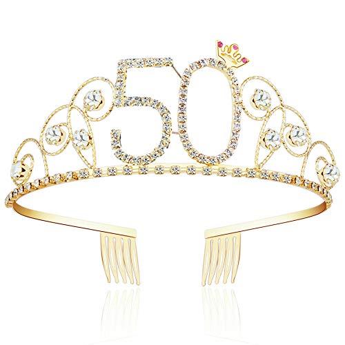 ArtiDeco Kristall Geburtstag Tiara Gold Birthday Crown Prinzessin Kronen Haar-Zusätze Gold Diamante Glücklicher 16/18/20/21/30/40/50/60/70/80/90/100 Geburtstag (50 Jahre alt)